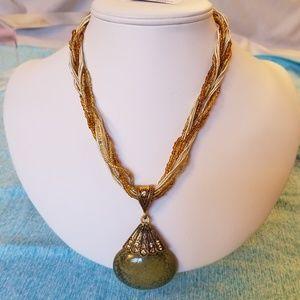 NWT Handmade Grayish Green Pendant Necklace